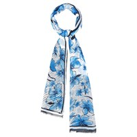 Viyella Flower And Stripe Border Scarf Navy