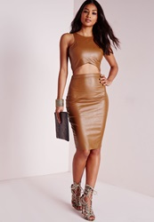 Missguided Faux Leather Midi Skirt Tan Brown