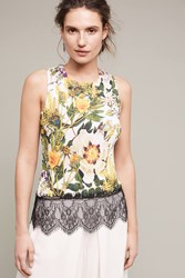 Anthropologie Sunglow Pleated Tank Yellow Motif