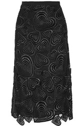 Christopher Kane Heart Embroidered Guipure Lace Skirt Black