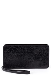 Hobo Avis Leather Wallet Black Embossed Black