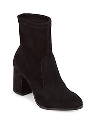 Saks Fifth Avenue Lady Suede Block Heel Booties Black