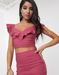 Vesper Sweetheart Neckline Crop Top Co Ord In Raspberry Red
