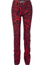 Calvin Klein 205W39nyc Printed High Rise Straight Leg Jeans Red
