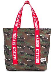 Maison Kitsune Flask Tote Bag Polyester Green