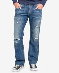 Silver Jeans Co. Men's Zac Relaxed Fit Straight Stretch Destroyed Indigo