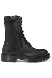 Vetements Lace Up Leather Ankle Boots Black
