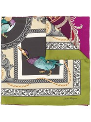 Salvatore Ferragamo Duck Print Scarf Purple