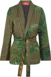 F.R.S For Restless Sleepers Aura Belted Quilted Silk Twill Jacket Green