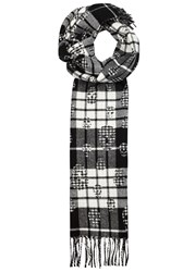 Alexander Mcqueen Black Checked Wool And Cashmere Blend Scarf Black And White