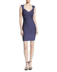 Herve Leger Crisscross Front Bandage Knit Bodycon Cocktail Dress Indigo