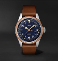 Oris Big Crown Pointer Date Automatic 40Mm Stainless Steel Bronze And Leather Watch Ref. No. 01 754 7741 4365 07 5 20 58 Navy