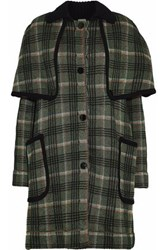 M Missoni Metallic Checked Cape Effect Coat Forest Green