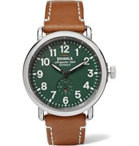 Shinola The Runwell 41Mm Stainless Steel And Leather Watch Green