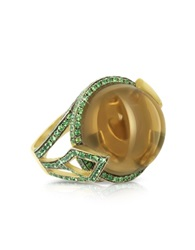 Sho London 18K Gold V Seal Smoky Quartz Feodora Ring Brown