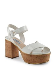 Prada Patent Leather And Cork Platform Sandals Cipria Nero White Lacca