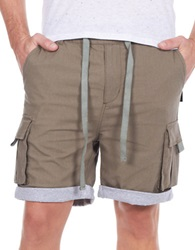William Rast Linen Blend Roll Cuff Shorts Khaki