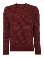Peter Werth Stanley Pattern Crew Neck Pull Over Jumpers Burgundy