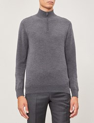 Gieves And Hawkes Turtleneck Half Zip Wool Jumper Medium Grey