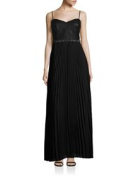 Laundry By Shelli Segal Mixed Media Pleated Gown Black