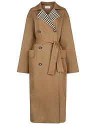 Isa Arfen Pebble Cotton Trench Coat Brown