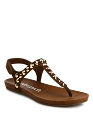 Pedro Garcia Judith Studded Leather Thong Sandals Cocoa Black