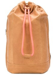 Diesel Drawstring Backpack Women Calf Leather One Size Brown