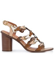 Coach Strappy High Sandals Brown