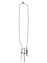 John Richmond Swords And Feather Charms Necklace Silver