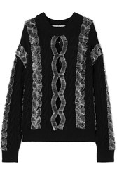 Alexander Wang Embellished Cutout Cable Knit Sweater Black