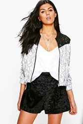 Boohoo Boutique Corded Lace Contrast Yoke Bomber Ivory