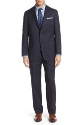 Hart Schaffner Marx Big And Tall New York Classic Fit Stripe Wool Suit Navy