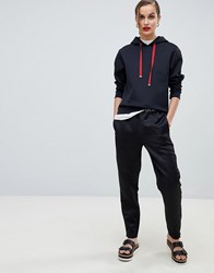 Emporio Armani Satin Joggers With Branded Taping 999 Black