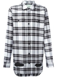 Off White Diagonal Stripes Plaid Shirt Black
