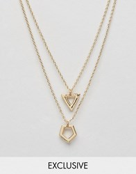 Designb London Hexagon And Triangle Pendant Necklaces In 2 Pack Gold
