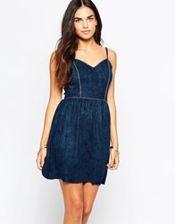 Goldie Sadie Dress In Suedette Navy
