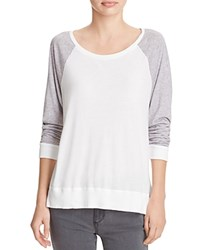 Splendid Very Light Jersey Baseball Tee White Heather Grey