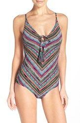 Women's Lucky Brand One Piece Swimsuit Pink Multi