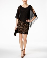 Connected Lace Chiffon Cape Dress Black Gold
