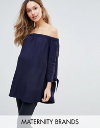 Isabella Oliver Bardot Top With Bow Sleeve Detail Navy
