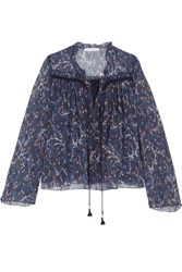See By Chloe Printed Plisse Cotton And Silk Blend Georgette Blouse Navy