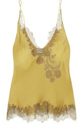 Carine Gilson Chantilly Lace Trimmed Silk Satin Camisole Mustard