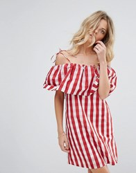 Mango Gingham Bardot Smock Dress Red Gingham