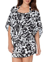 Anne Cole Antigua Caftan Cover Up Black White