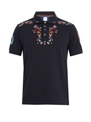 Paul Smith Floral Embroidered Cotton Polo Shirt Navy
