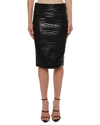 Tom Ford Crocodile Embossed Leather Knee Length Skirt Black
