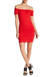 Velvet By Graham And Spencer Whisper Off The Shoulder Body Con Dress Red