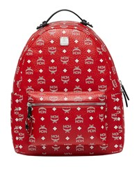Mcm Stark Logo Visetos Backpack Red White