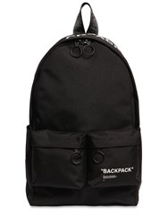 Off White Quote Tech Canvas Backpack Black