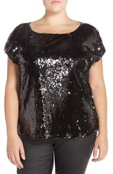 Plus Size Women's Bb Dakota 'Gisa' Sequin Short Sleeve Top